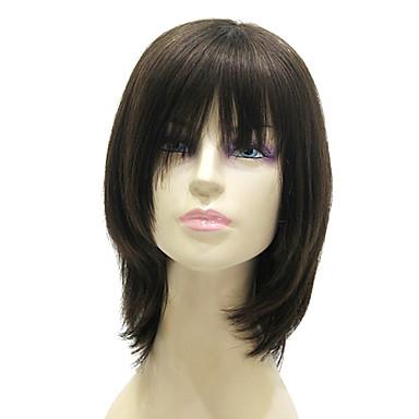 capless medium long black silky straight 100 human hair
