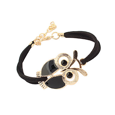 leather Charm Bracelets Alloy Owl Charm Sideways Leather Bracelets With an Adjustable String Bracelet Jewelry Christmas Gifts