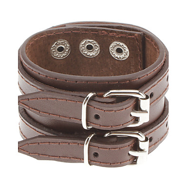 Men's Double Belt Leather Bracelet