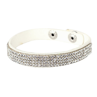 Four Row Crystal Leather Tennis Bracelet Jewelry Christmas Gifts