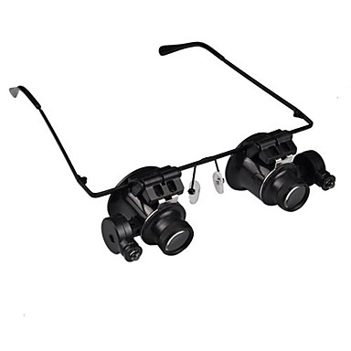 20X Magnifier Magnifying Eye Glasses Jeweler Watch Repair LED Light Glasses Loupe Lens