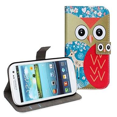 Owl Print lederne Mappen-Kasten-Abdeckung mit Standplatz fit für Samsung i9300 Galaxy S3