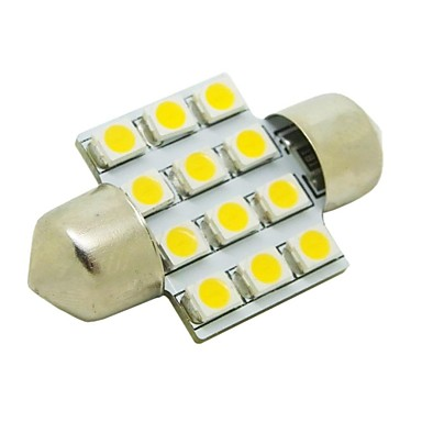 31mm 1w 12x3528 smd 50lm 2800 3200k warm wit licht led for Led autolampen