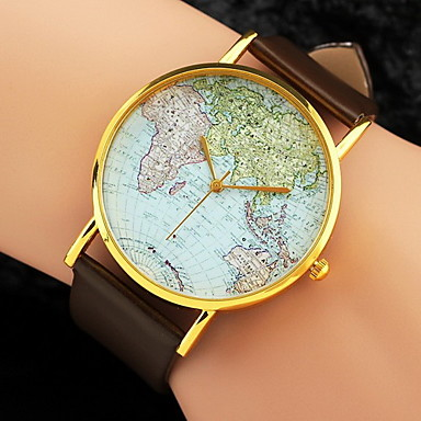 Women's Watch World Map Pattern PU Band Cool Watches Unique Watches Fashion Wrist Watch Strap Watch