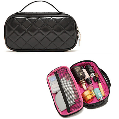 Tragbare High End Diamond Black PU Kupplung Kosmetiktasche Make-up-Aufbewahrungstasche