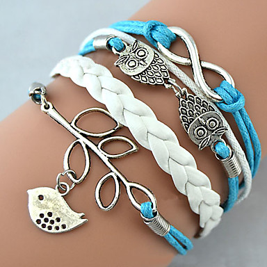 Women's Charm Bracelet Wrap Bracelet Leather Bracelet Basic Friendship Fashion Handmade Personalized Leather Alloy Leaf Owl Infinity Bird