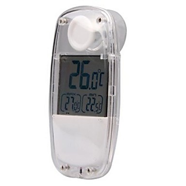 Indoor  Outdoor 1.5'' LCD Solar Powered Thermometer - White   TS-W32