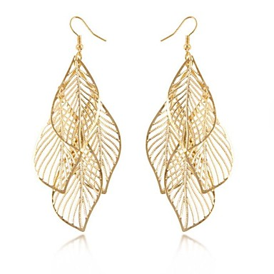 Drop Earrings Elegant Statement Jewelry Alloy Leaf Black Sliver Golden Jewelry For Wedding Party Daily Casual