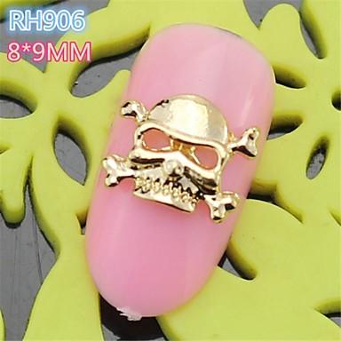 10st rh906 nieuwe ontwerp gouden koele halloween schedel stijl 3d legering nail art decoratie - Decoratie murale ontwerp salon ...