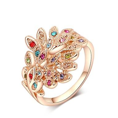 Anillos de dise o cristal cristal chapado en oro pavo real for Disenos de joyas en oro