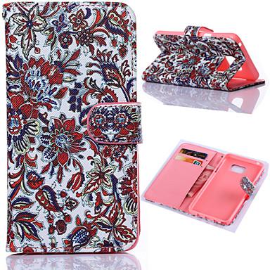 Beautiful Blumenmuster mit Karten-Beutel Ganzkörper-PU-Leder Etui für Samsung S6 Edge-Plus-