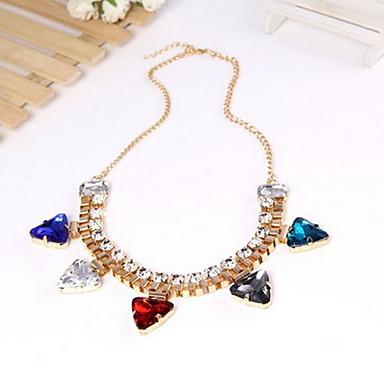 Hot Colored Triangle Pendant Diamond Short Necklace Jewelry