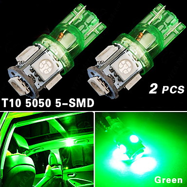 2x Us Green T10 192 194 168 Led Car Interior License Tag Light 5 Smd 5050 Bulb 2015