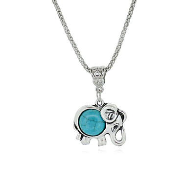 Vintage necklace Trendy Elephant Pendant Necklace Silver Metal Turquoise Jewelry