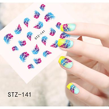 Nail Передача 1шт воды искусства наклейки Красочные пера цветов Nail Art Design STZ141-144