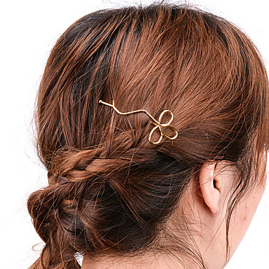 Women Simple Handmade Hollow Clover Hair Clips Alloy Hair ...