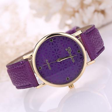 Women's Leather Band White Flower Case Analog Quartz Wrist Watch Cool Watches Unique