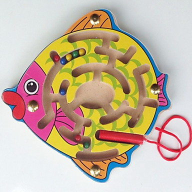 A Small Wooden Labyrinth Magnetic Brush Small Fish