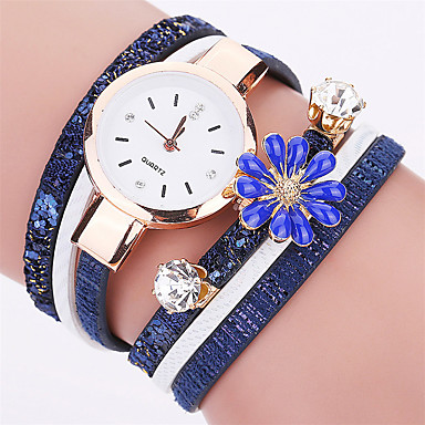 Women's Fashion Watch Bracelet Casual Quartz / PU Band Flower Cool Black White Blue Red Grey Brand