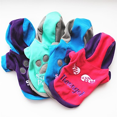 Cat Dog Coat Shirt / T-Shirt Hoodie Sweatshirt Dog Clothes Party Casual/Daily Keep Warm Letter  Number Blue Green Rose Purple
