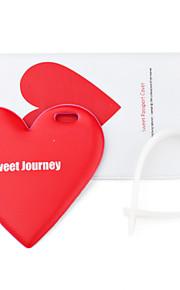 caso de passaporte e tag de viagem (coração vermelho)