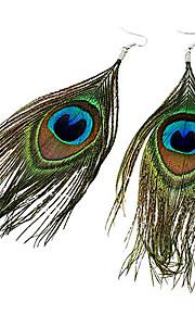 kvinders boheme etnisk påfugl fjer øreringe