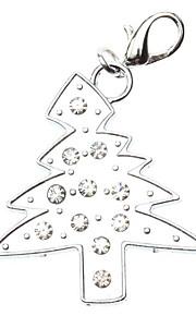 Katzen / Hunde Schilder Strass / Weihnachten Silber Metall