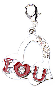 Rhinestone Decorated Loving Heart Style Collar Charm for Dogs Cats