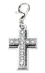 Dog tags Rhinestone Decorated Solemn Cross Style Collar Charm for Dogs Cats
