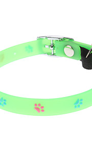 Cat / Dog Collar Footprint/Paw / Fluorescent Green Plastic
