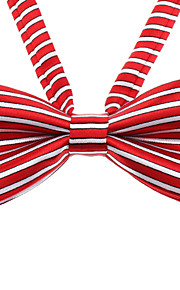 Red and White Stripe Pattern bowknot Neck Tie for kjæledyr Hunder Katter (Neck: 26-38cm)