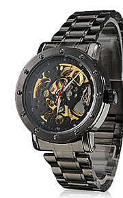 auto-mecânico de discagem oco de aço preto relógio banda de pulso dos homens