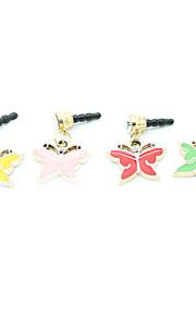 Kullattu metalliseos akryyli Butterfly Pattern Anti-pöly Plug (Random Colors)