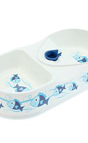 Bacia Duplo Dispenser de Água e alimentação com peixe padrão para Animais de estimação Cães (cor aleatória, 33x16.5x6cm)