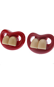 Red Creative Funny Teeth Personality Pacifier Sootherbillede Nipple (tilfældig farve)