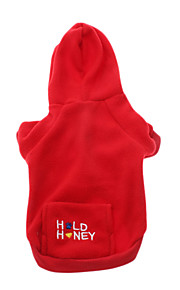 Dog Hoodie Red / Blue / Pink Winter Letter & Number