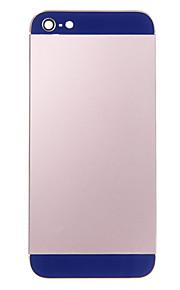 Rosa Liga de Metal Voltar Bateria Caixa com vidro da marinha para iPhone 5