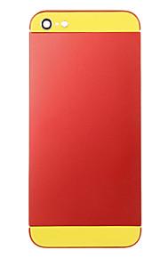 Red Liga de Metal Voltar Bateria Caixa com vidro amarelo para iPhone 5