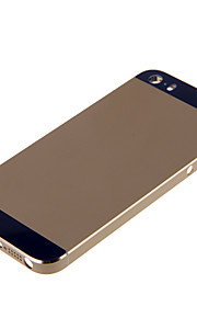 Champagene Hard Metal Alloy Tillbaka Batterihus med marinen Glas för iPhone 5s