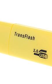 USB 2.0 Mikro SD Minnekort Leser (Gul / Sort / Blå)