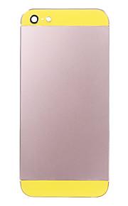 Rosa Liga de Metal Voltar Bateria Caixa com vidro amarelo para iPhone 5