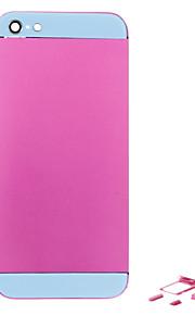 Fuchsia Liga de Metal Voltar Bateria Caixa com Button e vidro azul para iPhone 5