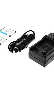 ismartdigi-Nik EN-EL10 (2 stuks) 750mAh, 3,7 V camera batterij + auto-oplader voor NIKON S3000 S200 S500 S700 S5100 S4000