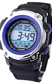 Disque Digital Masculina TIME100 PU Banda Japaness Quartz LED multifuncional impermeável Sport Watch eletrônico
