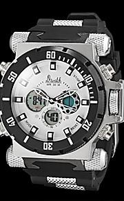 estilo militar relógio multifuncional resistente dupla fusos horários água dos homens