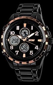 Masculino Estilo Militar Dual Time Zones Difícil Steel Band relógio de pulso (cores sortidas)