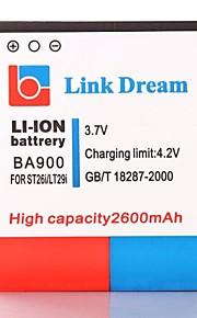 Enlace Dream High Quality 3.7V 2600mAh de la batería del teléfono celular para Sony ST26i Xperia LT29i Xperia J T TX GX LT30 (BA900)