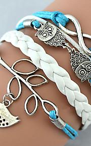 Bracelet/Charm Bracelet/Leather Bracelet, Owl Leaves/Infinity Jewelry Handmade Friendship Bracelet Gift