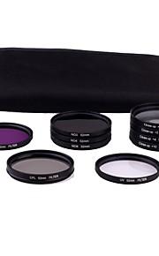 52mm 10stk UV FLD CPL ND2/4/8 filtersæt til kamera Nikon D3100 D5000 D5100 Canon 450D 500D DSLR