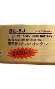 3.7v 2450mAh BL-5J haute capacité téléphone portable d'or de la batterie pour Nokia 5800XM 5230 et 5233